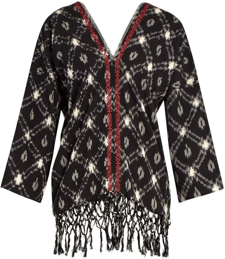 Masscob Terrasse ikat-print cotton top