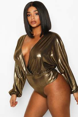 boohoo Plus Metallic Wrap Longsleeve Bodysuit