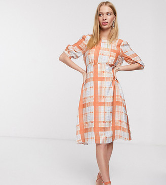 Lost Ink midi dress with full skirt and tie back in check