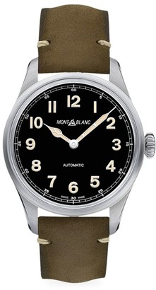 Montblanc 1858 Stainless Steel & Leather Strap Automatic Watch