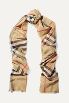 Burberry Checked Wool And Silk-blend Scarf - Camel