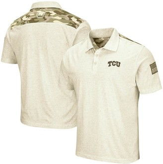 Colosseum Men's Oatmeal TCU Horned Frogs OHT Military Appreciation Desert Camo Polo