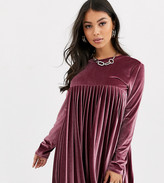 Asos DESIGN Petite long sleeve pleated smock mini dress in velvet