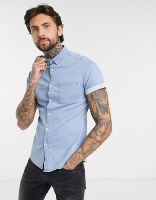 ASOS DESIGN stretch slim organic short sleeve denim shirt in bleach wash