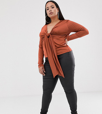 Asos DESIGN Curve long sleeve top in slinky with knot front
