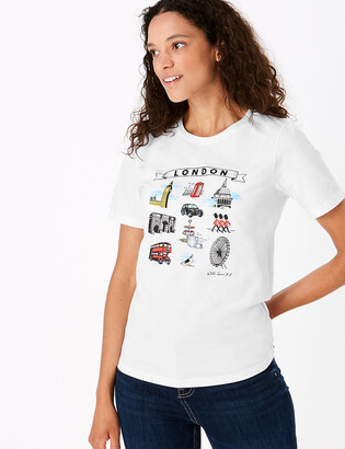 Marks and Spencer Pure Cotton London Straight Fit T-Shirt