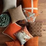 Williams-Sonoma Williams Sonoma Lattice Suede Pillow Cover, Orange