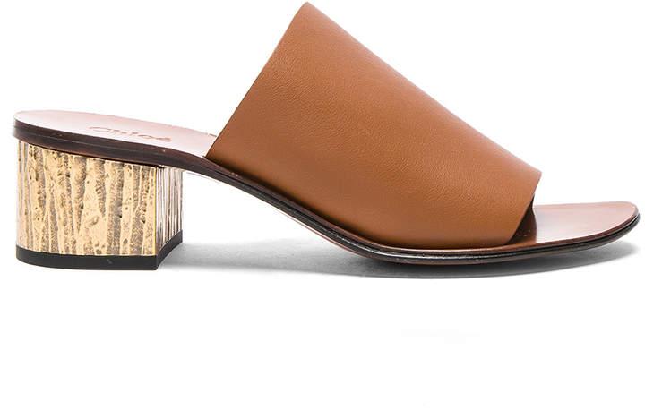 Chloé Qassie Semi-Shiny Calf Leather Mules