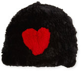 Jocelyn Heart Rabbit Fur Beanie, Black/Red