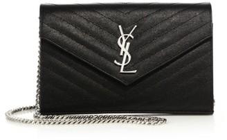 Saint Laurent Monogram Matelasse Leather Wallet-On-Chain