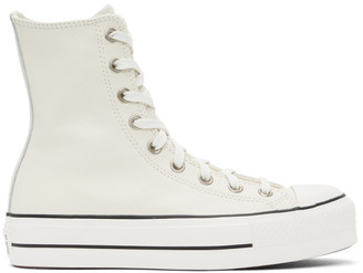 Converse Off-White Leather Chuck Lift High-Top Sneakers