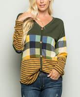Celeste Women's Tunics OLIVE - Olive Plaid & Stripe Color-Block Button-Front Top - Women