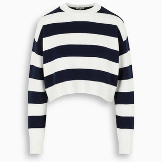 Miu Miu Ivory/navy striped cropped sweater