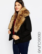 Asos Jacket In Wool With Oversized Faux Fur Collar