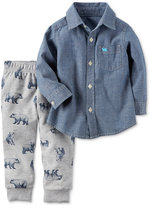 Carter's 2-Pc. Cotton Chambray Shirt and Printed Pants Set, Baby Boys (0-24 months)