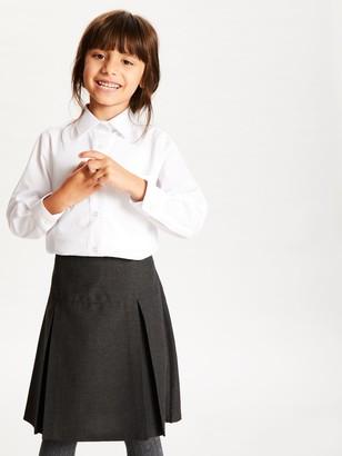 John Lewis & Partners The Basics Girls' Long Sleeve School Blouse, Pack of 3, White