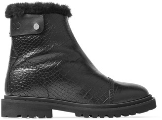 Jimmy Choo VOYAGER II/F Black Croc-Embossed Calf Leather Snow Boots with Heated Soles