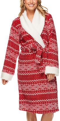 Kathy Ireland Women's Sleep Robes HRED - Heather Red Fair Isle Contrast-Trim Plush Sherpa Robe - Women