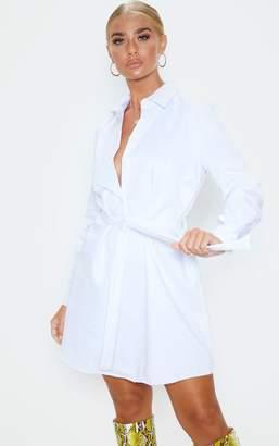 PrettyLittleThing White Pleated Shirt Dress