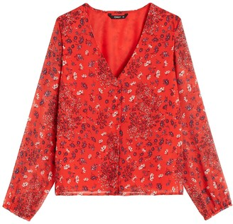 Only Floaty V-Neck Blouse with Long Sleeves
