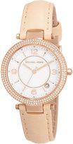 MICHAEL Michael Kors Mini Parker Glitz Watch w/ Leather Strap, Rose Gold/Brown