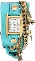 La Mer Women's Quartz Gold-Tone and Leather Watch, Color:Blue (Model: LMCW9009)