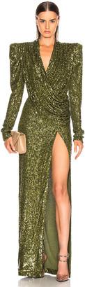 RAISA&VANESSA Sequined Wrap Maxi Dress in Khaki Green | FWRD