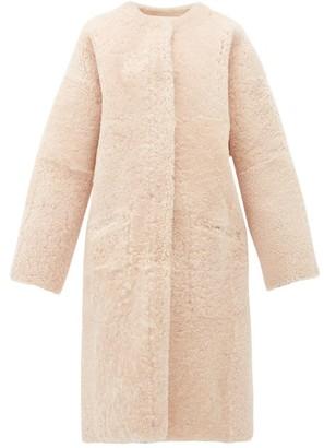 Raey Long-line Reversible Shearling Coat - Nude