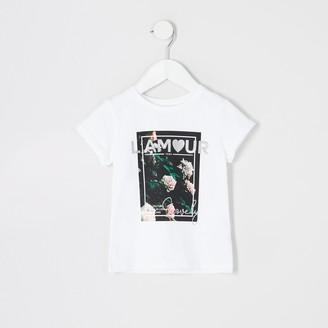 River Island Mini girls White 'L'amour' floral T-shirt