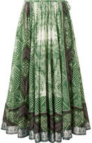 Etro Jacquard-trimmed Printed Cotton And Silk-blend Wrap Skirt - Green