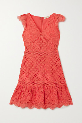 MICHAEL Michael Kors Ruffled Crocheted Lace Mini Dress - Coral