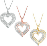 1/2 CT. T.W. Diamond Heart Pendant in 10K White, Rose or Yellow Gold