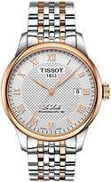 Tissot T0064072203300 Men's Le Locle Automatic Two Tone Date Bracelet Strap Watch, Silver/Rose Gold