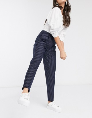 New Look pull on pants in navy stripe