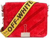 Off-White Off White Binder Clip Velvet Shoulder Bag
