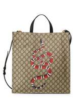 Gucci Snake GG Supreme Soft Tote Bag, Beige/Ebony