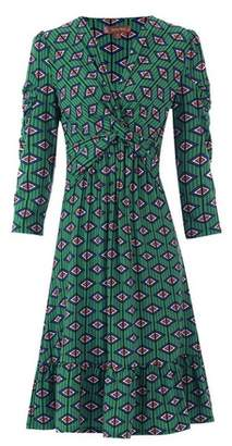 Dorothy Perkins Womens *Jolie Moi Green Geometric Print Fit And Flare Dress, Green