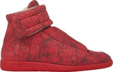 Maison Margiela MEN'S CRACKED LEATHER ANKLE-STRAP SNEAKERS-RED SIZE 7 M
