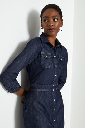Coast Button Front Fit and Flare Denim Dress