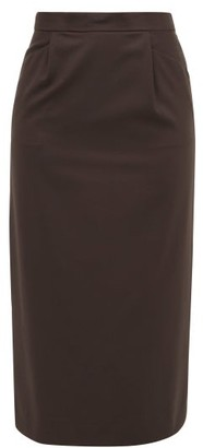 Edward Crutchley High-rise Wool-crepe Pencil Skirt - Brown