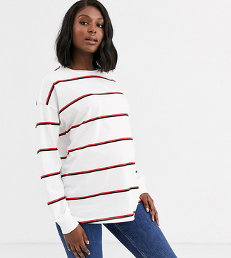 Asos DESIGN Maternity long sleeve top with cuff detail in stripe-Multi