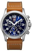 Luminox Atacama Field Chronograph Alarm Men's Quartz watch with Blue dial featuring LLT light Technology 45 millimeters Stainless Steel case and Brown Leather Strap XL.1944