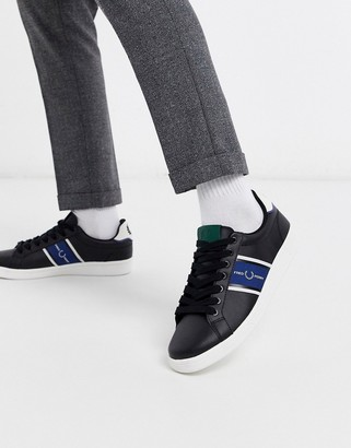 Fred Perry B721 leather sneakers with webbing in black