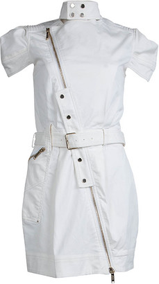 Matthew Williamson Mathew Williamson White Denim Overlap Zipper Belted Dress M