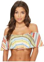 Vince Camuto Cabana Stripes Ruffle Off the Shoulder Bikini Top w/ Removable Soft Cups Strap Women's Swimwear