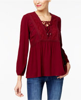 Style&Co. Style & Co Petite Lace-Up Babydoll Peasant Top, Created for Macy's