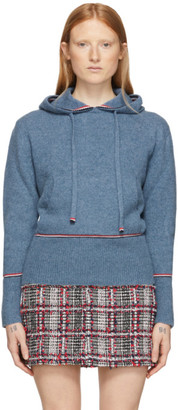 Thom Browne Blue Cashmere Pullover Hoodie