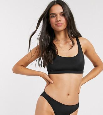 Monki recycled scoop neck bikini top in black