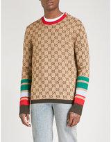 Gucci Monogram-intarsia striped wool jumper