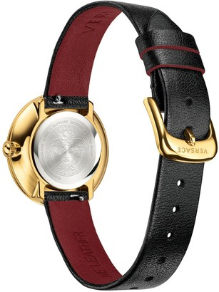 Versace Silver Sunray and Gold Detail Dial Grey Leather Wrap Strap Ladies Watch